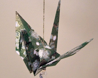 Green Spring White Blossom Original Origami Peace Crane Ornament