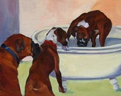Pet Portrait Fine Art Print Three Boxer Dogs
