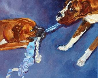 Boxer Dog Tug of War Fine Art Print
