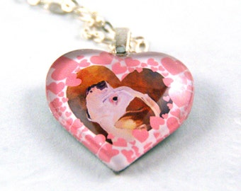 White Boxer on Heart Shaped Glass Pendant Necklace