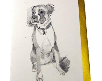 Boxer Dog Girl Fine Art Greeting Card