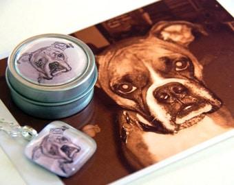 Custom Boxer Dog Fine Art Glass Pendant Charm Necklace