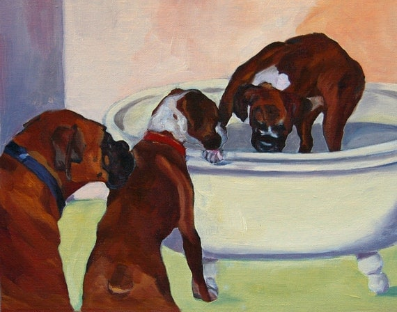 Pet Portrait Fine Art Print Three Boxer Dogs