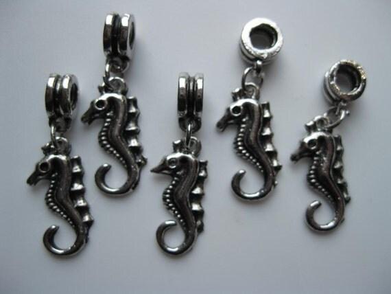 Large Hole Beads, Dangle, Seahorse, Metal, Lot of 5