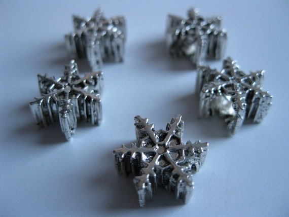 Large Hole Metal Beads - European Style, Snowflake Shape, Winter, Silver Color, 15mm, 5mm Hole, 5 Pieces
