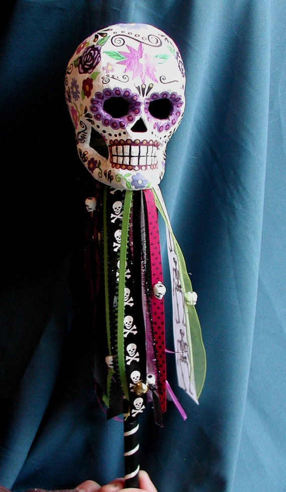 SALE Halloween Day of the Dead Sugar Skull Handpainted Jester Rattle Decoration Or Costume Prop