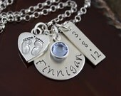 New Mommy/Grandmother Necklace - Sterling Silver Hand-Stamped Disc with Birthstone and Charm Necklace
