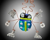 Fused Italian Glass Bug with Charms  Made to Order