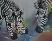 Original watercolor painting - Zebras - ON SALE limited time