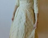 Gorgeous Vintage Ivory Floral Lace Formal Dress- 1950's
