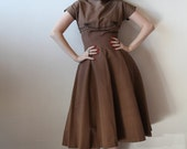 Vintage 1950s Mocha Brown Silk Faille Dress with Black Cord Embellishment Full Skirt Carole King Junior Fashion