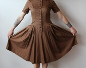 Vintage 1940s Brown Cotton Dress Full skirt Marcy Lee XL