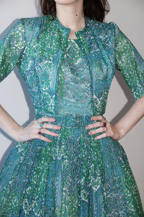 RESERVED Vintage 1950s Cotton Voile Green and Blue Print Dress and Jacket Sundress Garden Party