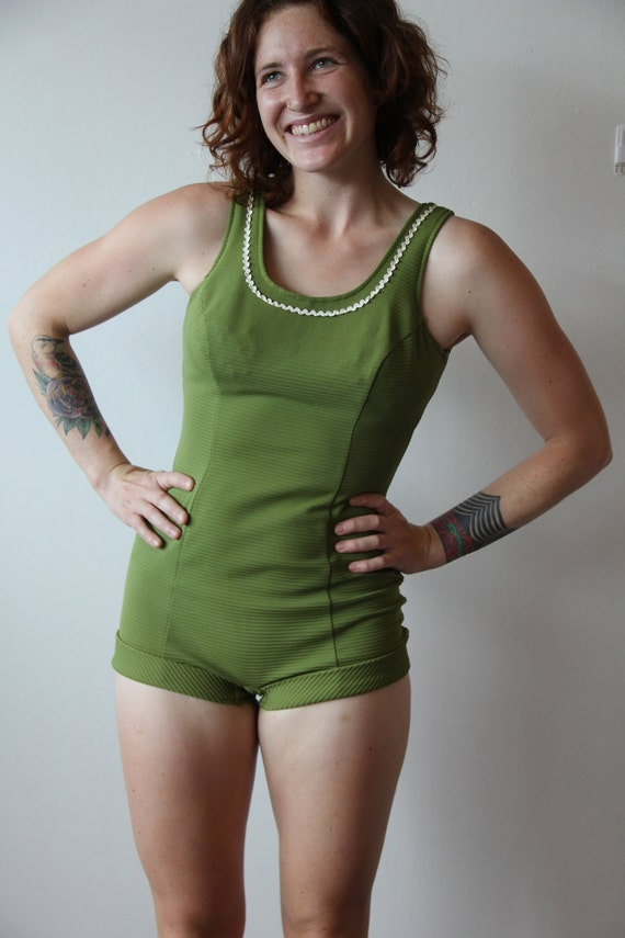 Vintage 1960s Avocado  Green Ribbed Swimsuit Large Ricrac