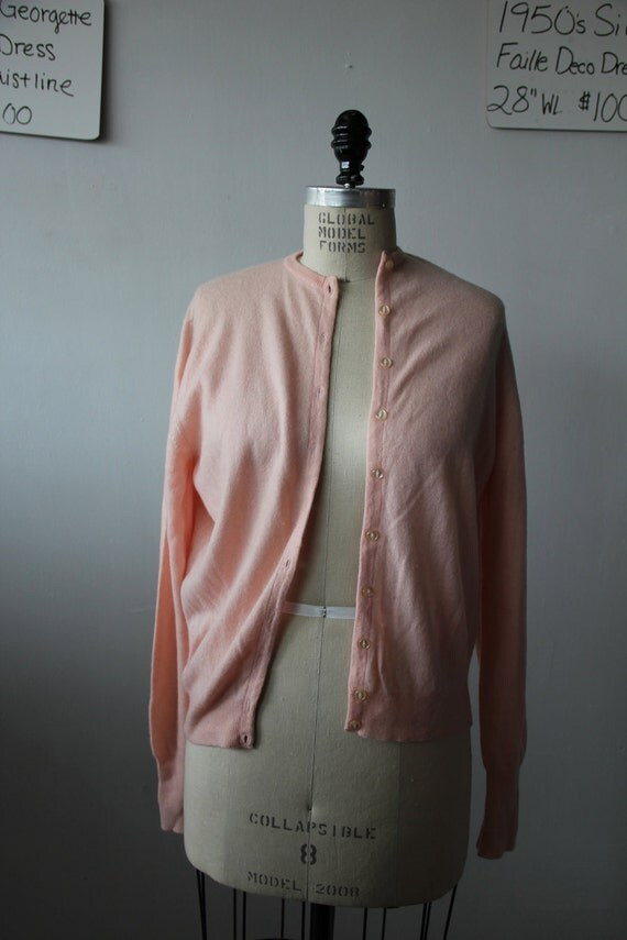 Vintage 1950s Pink Cashmere Cardigan Sweater XL