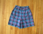 Purple Madras High Waisted Pleated Golf Shorts