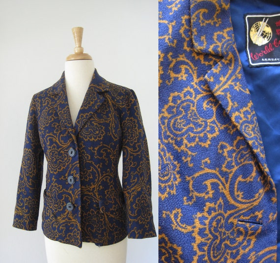 Navy and Mustard  Cropped Paisley Blazer Small