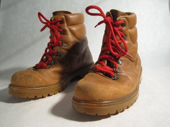 Italian Alpine Tan Leather Hiking Boots Mens 8.5 Womens 10