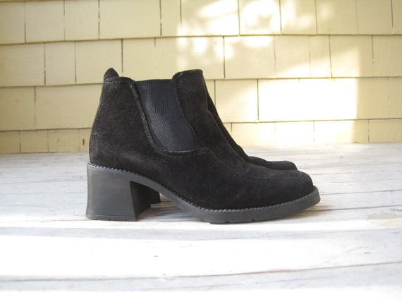 Black Suede Chunky 90s Pull On Elastic Ankle Boots 7
