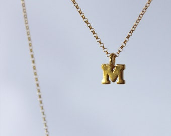 tiny gold letters or numbers. 14k or 18k gold vermeil charms. delicate gold fill chain • • initial necklace