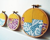 Patchwork Fabric Collage Circles in Hoops. Vintage Fabric, Wall Art. Purple, Teal, Yellow. Fiber Art. Set of 3. Handmade by Merriweather Council on Etsy