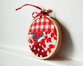 Vintage Fabric Patchwork 3 inch Hoop Christmas Ornament. OOAK, one of a kind. Shades of Red. Handmade by merriweathercouncil on Etsy.