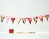 Fabric Bunting. Red Gingham, Strawberries, Triangle Pennant, Banner, Decoration. Handmade by merriweathercouncil on Etsy.