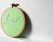 Hand Embroidery in 4 inch HoopLove, Mint Green. Made to Order. By merriweathercouncil on Etsy