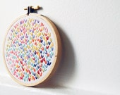 Hand Embroidered Hoop Art.  4 Inch Wishbone Stitch Circle. Rainbow Cloud. By merriweathercouncil on Etsy