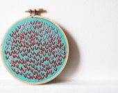Red and Teal Wishbone Stitch Circle. Embroidery Hoop Art. Down by the Bay. By merriweathercouncil on Etsy