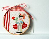 Embroidery Hoop Valentine. Patchwork Fabric. Vintage Illustration. One of a kind. Handmade by merriweathercouncil on Etsy.