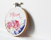 Mom. Mother's Day, Hand Embroidery in 3 inch Hoop. Vintage Floral Hanky. Handmade by merriweathercouncil on Etsy
