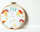 Hand Embroidered Hoop. Bff. Best Friends Forever. Little Girls Jumping Rope and Gardening. Handmade. by merriweathercouncil on Etsy.