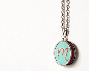 Grandmother Gift, Mother Necklace. Double Initial Necklace. Two initials Charms. Embroidered Pendant. Hand Embroidery. Personalized Jewelry