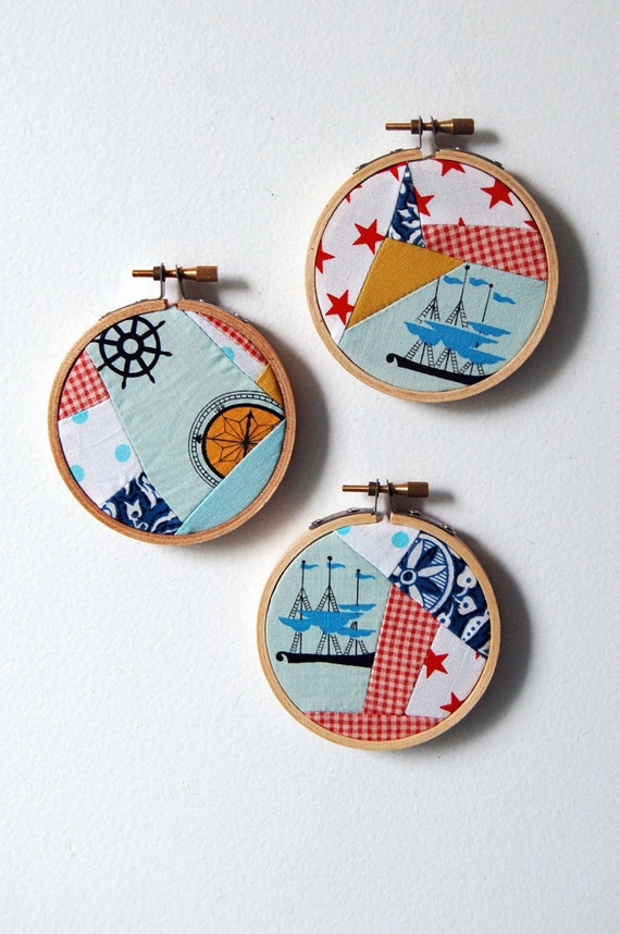 SALE USA and CANADA FREE SHIPPING Nautical, Whimsical, Fabric Patchwork Collage Circles in Hoops. Vintage Fabric. Wall Art. Fiber Art. Set of 3. Housewares, Home Decor, Handmade by Merriweather Council on Etsy