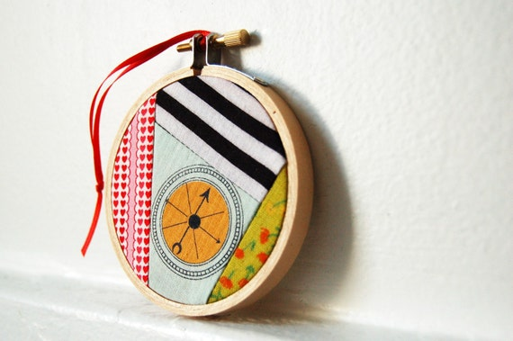 Nautical Themed, Compass, Christmas Ornament, Decoration. 3 inch Patchwork Hoop. Vintage Fabric. Housewares, Home, Holiday Decor. Handmade by Merriweather Council on Etsy