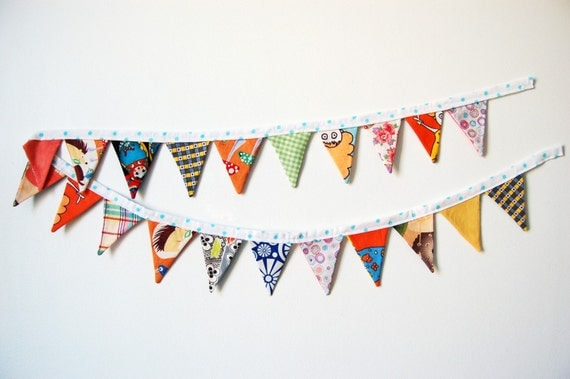 Fabric Bunting, Mini Pennants. One of a Kind. Mixed Prints. Whimsical & Colorful. Handmade by merriweathercouncil on Etsy