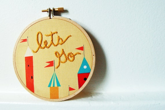 Lets Go. Whimsical Fairy Tale Castles, Hand Embroidery in 4 inch Hoop. Handmade by merriweathercouncil on Etsy