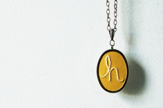 Personalized Jewelry, Necklace. Hand Embroidered. Pick Your Colors. Made Just For You by merriweathercouncil on Etsy.