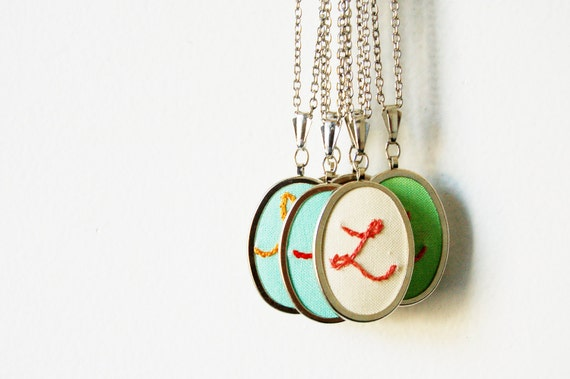 Personalized Jewelry, Embroidered Initial Necklace. Customizable Gift. Design Your Own.  by merriweathercouncil on Etsy.