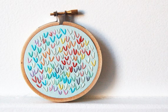 Summer Popsicles. Hand Embroidered Wishbone Circle in 3 inch Hoop. Colorful Embroidery Hoop Wall Art. By merriweathercouncil on Etsy