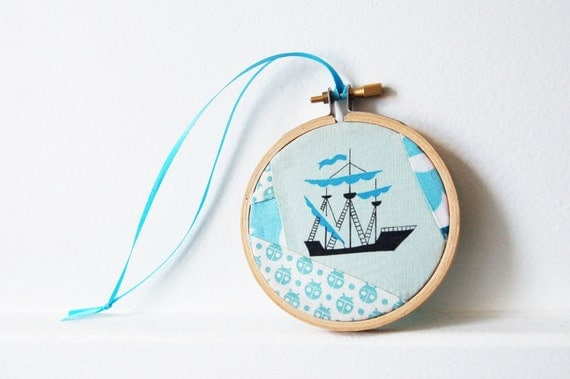 Nautical Vintage Print Fabric Hoop Ornament. Blue Sailboat Fabric, Patchworked By merriweathercouncil on Etsy.