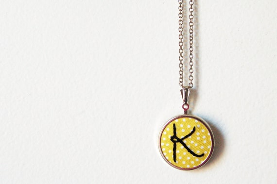Embroidered Initial Necklace with Any Letter. On Printed Polka Dot Fabric. by merriweathercouncil on Etsy