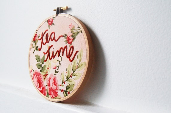 Embroidery Hoop Wall Art. Tea Time, Floral Print Fabric. 5 inch Embroidered Hoop. by merriweathercouncil on Etsy.