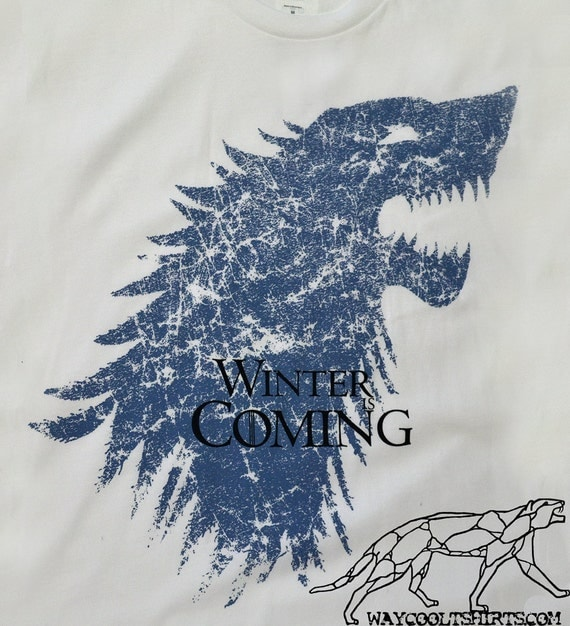 Game of Thrones T Shirt  AND FREE Tote Winter Is Coming Unisex fitted White Ringspun Cotton Tee