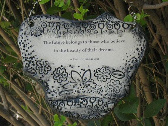 Inspirational Eleanor Roosevelt Quote Ceramic Plaque - Graphite
