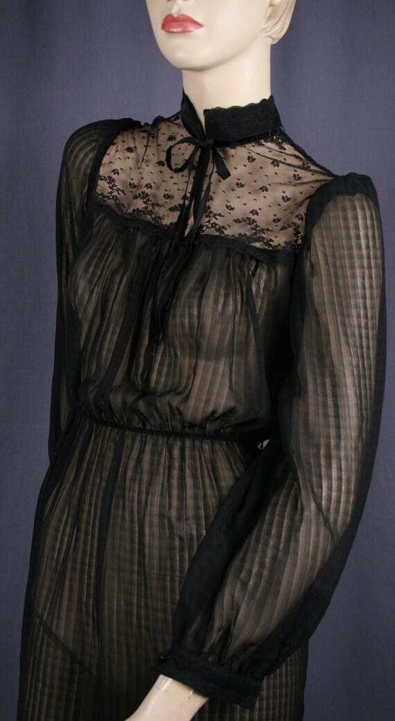 Vintage sheer black  secretary dress