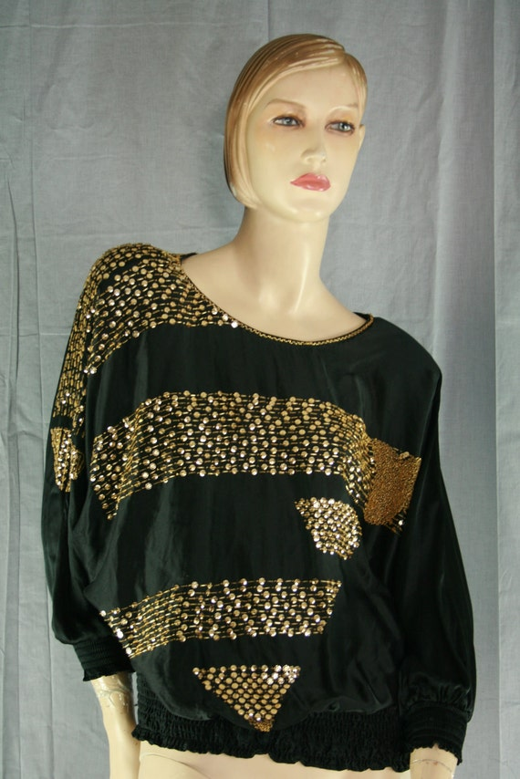 80s sequin beaded batwing gold black silk top