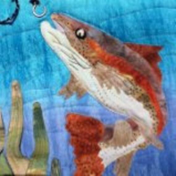 Art quilt pattern : rainbow trout