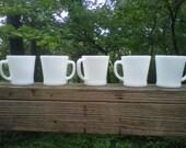 Anchor Hocking Fire King White Milk Glass Mugs Mid Century Modern Mad Men Set of 5